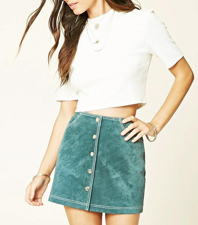 Forever 21 Buttoned Leather Miniskirt