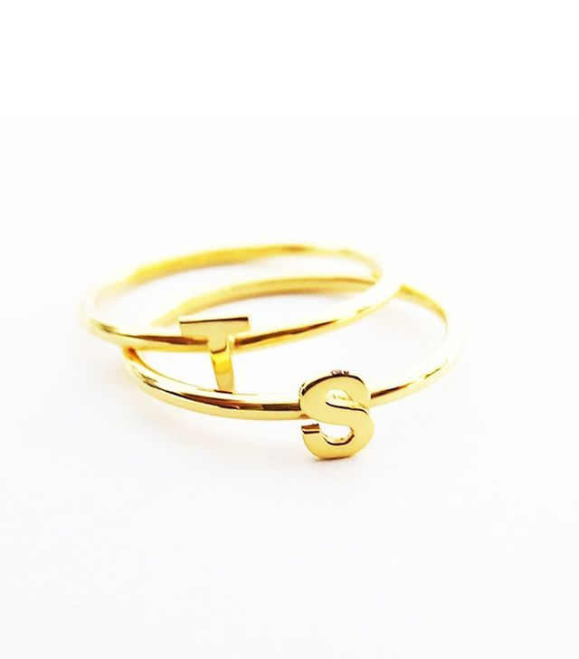Melita Handmade Gold Stackable Initial Ring