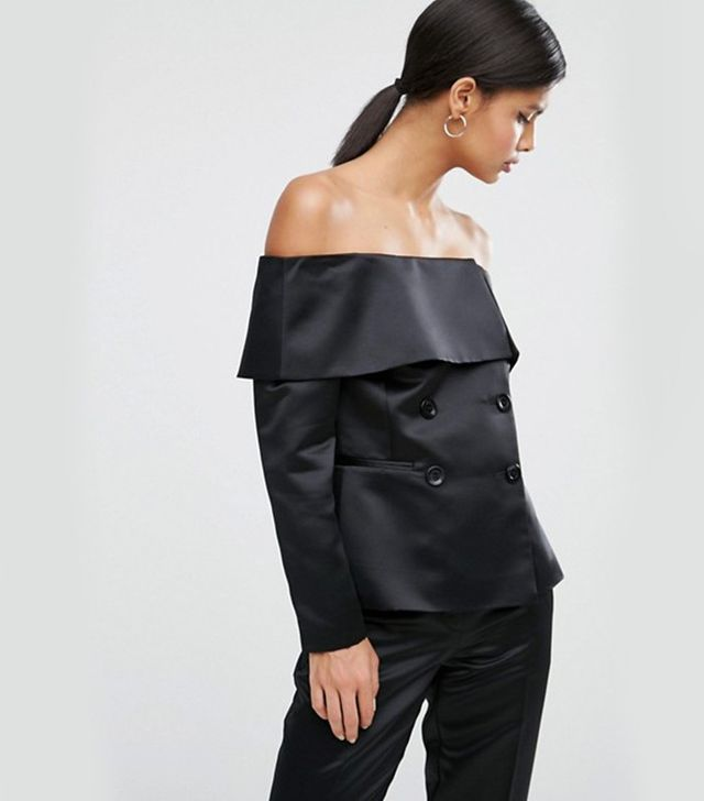 ASOS Glam Off Shoulder Satin Blazer
