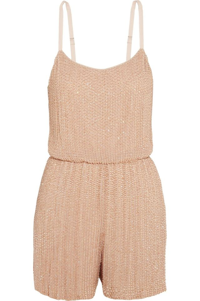 Alice and Olivia Mika Folly Embellished Silk-Georgette Playsuit