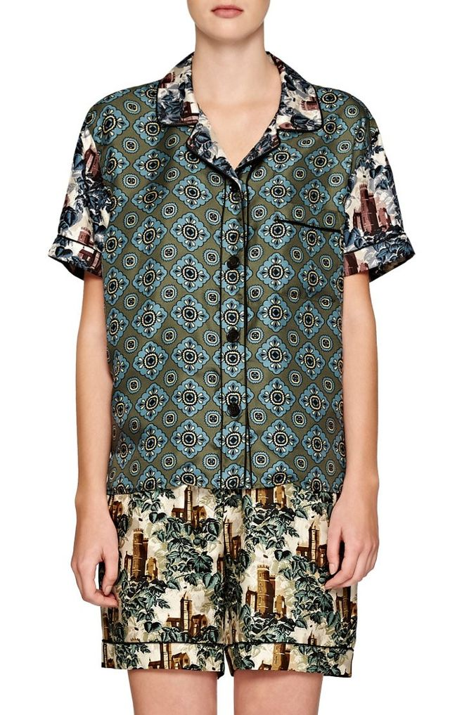 Burberry x Barneys New York Medallion-Print Contrast Pajama Top