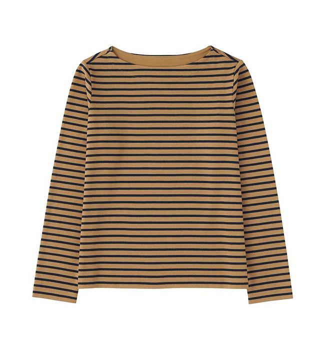 Uniqlo Striped Boat Neck Long Sleeve T