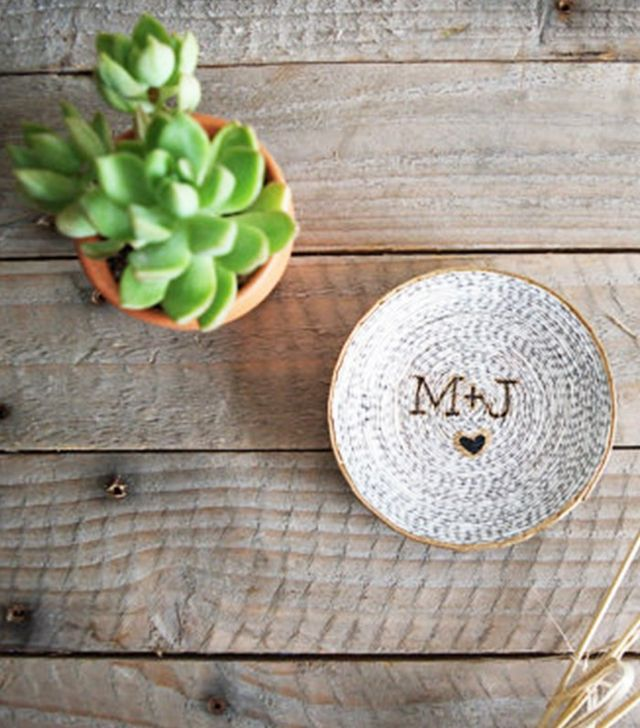 Rust and Glam Custom Initials Recycled Magazine Ring Dish
