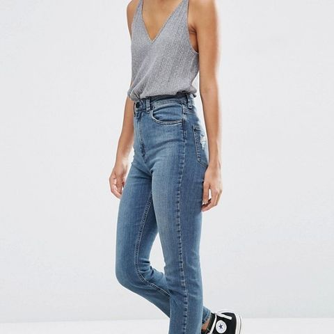 High Waist Slim Mom Jeans In Bebe Dark Stonewash Blue With Rips