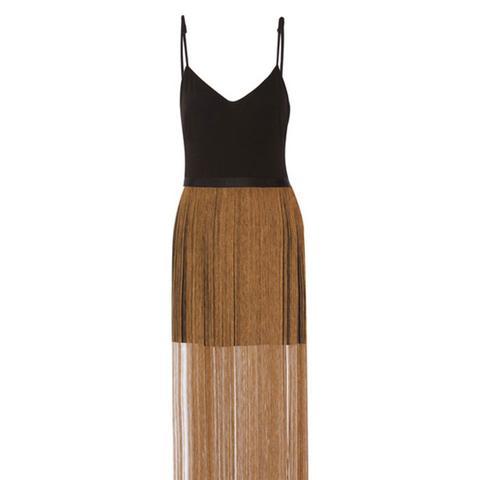 Fringed Crepe Mini Dress