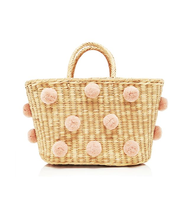 Joana PomPom-Embellished Woven Straw Tote