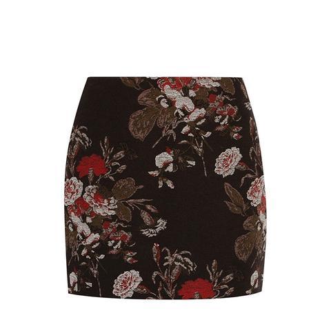 Cotton-Blend Floral-Brocade Mini Skirt