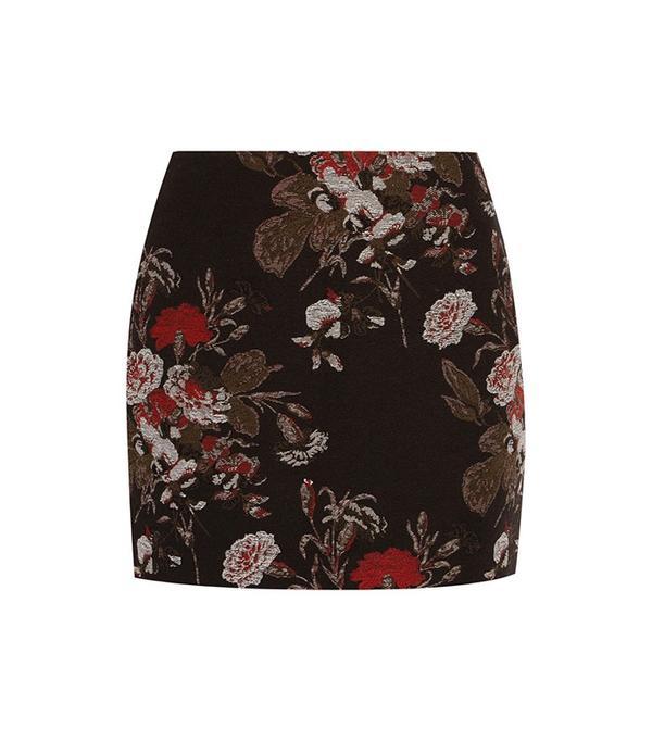 Ganni Cotton-Blend Floral-Brocade Mini Skirt