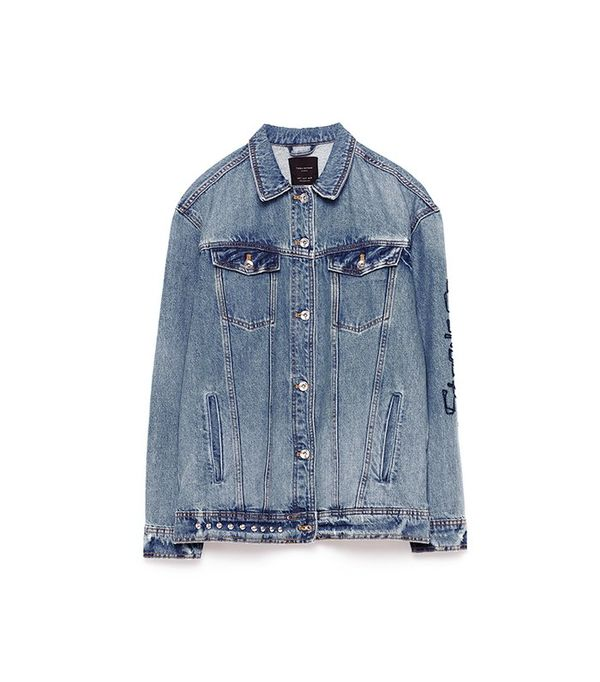 Zara Oversized Studded Denim Jacket