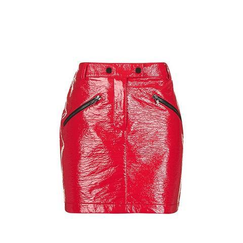 Vinyl Zip Pocket Mini Skirt