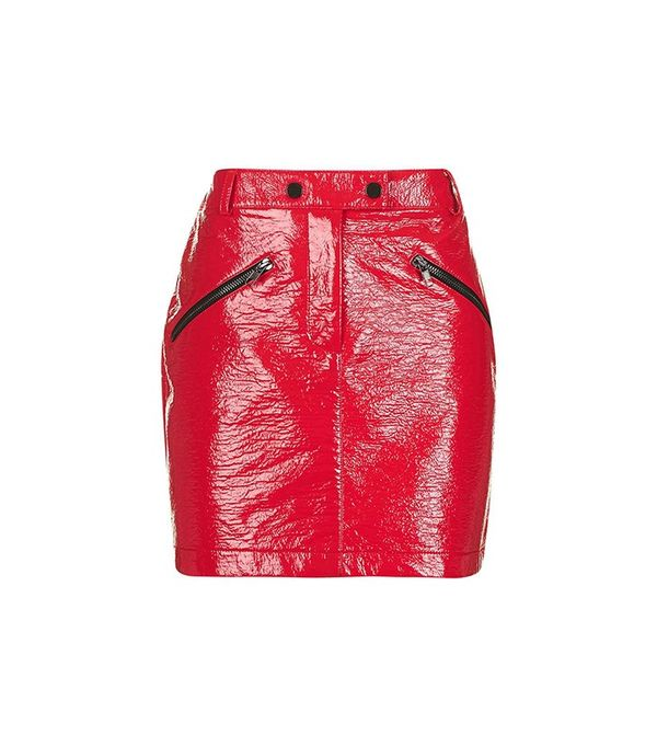 Topshop Vinyl Zip Pocket Mini Skirt