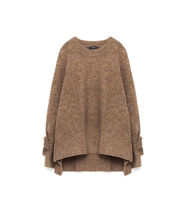 Zara Sweater With Tie Detail On Sleeve