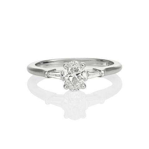 Oval and Tapered Baguette Engagement Ring