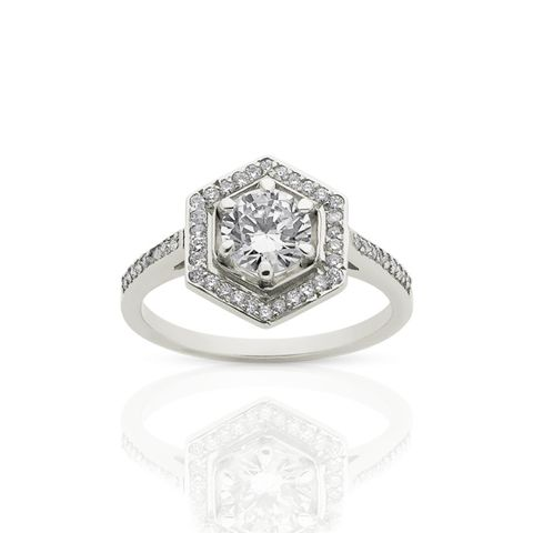 Hex White Diamond Ring