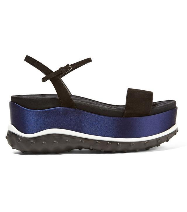 Miu Miu Suede, Faille and Satin Platform Sandals
