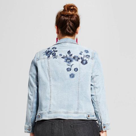 Medium Wash Embroidered Denim Jacket