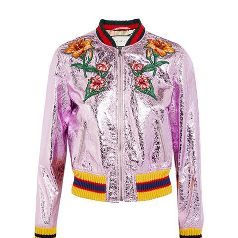 Appliquéd Metallic Textured-Leather Bomber Jacket