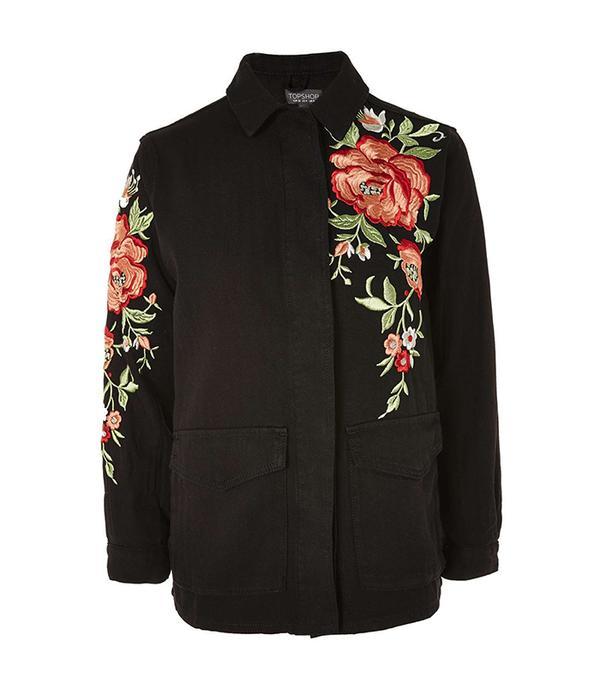 Black Rose Embroidered Shirt Jacket