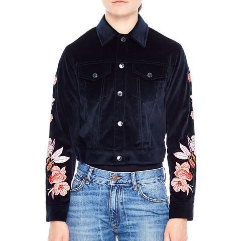 Women's Sandro Embroidered Crop Velvet Jacket