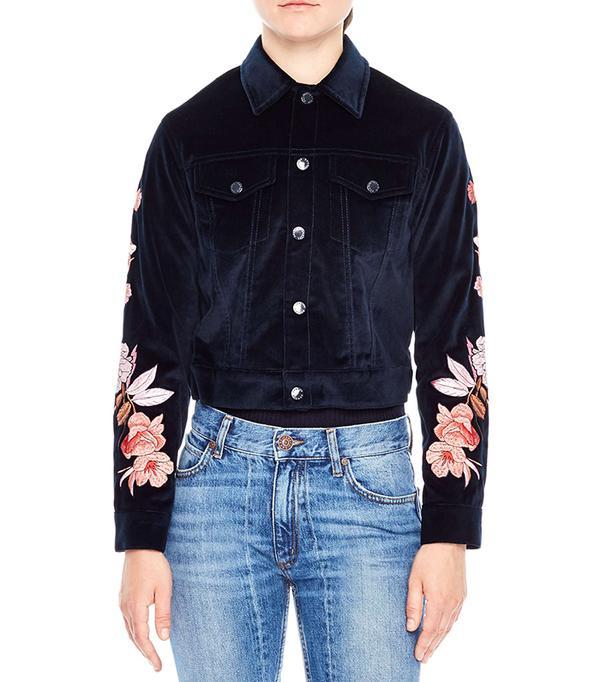 embroidered velvet jacket