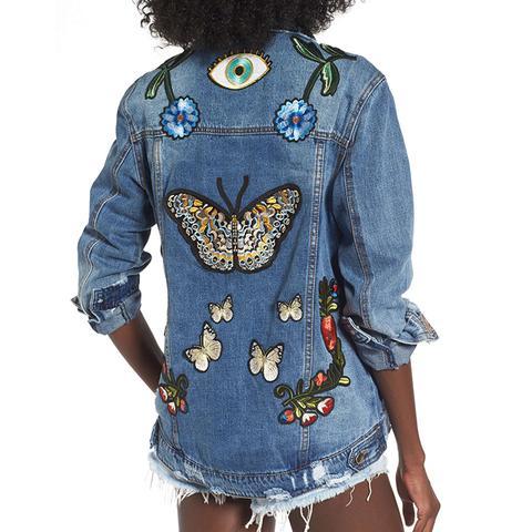 Women's Afrm Eloise Embroidered Denim Jacket