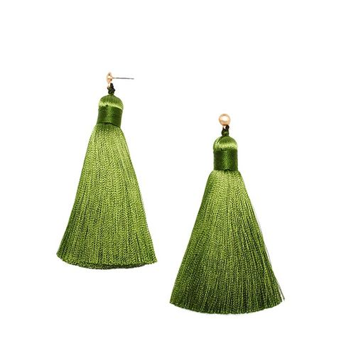 Green Tea Fattie Tassel Earrings