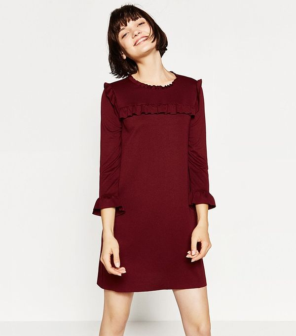Zara A-Line Dress With Frills
