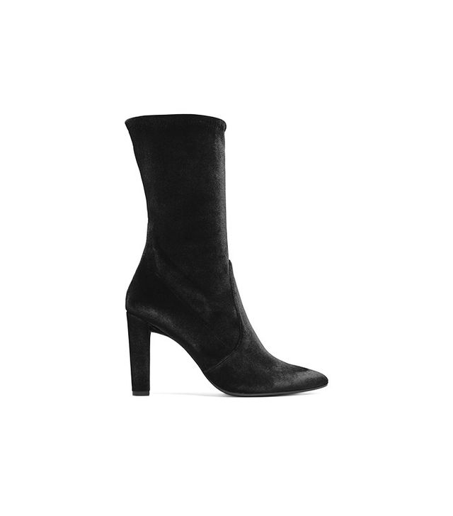 Stuart Weitzman Clinger Booties in Stretch Velvet