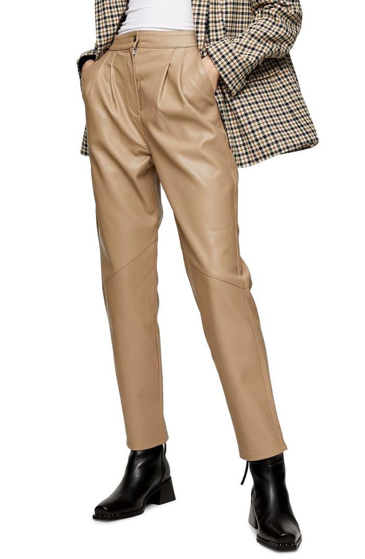 Topshop Faux Leather Peg Trousers
