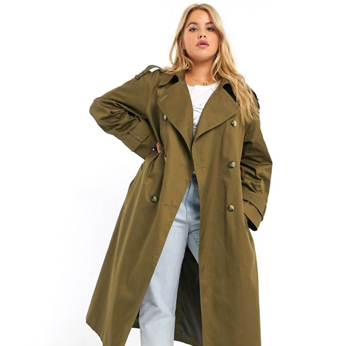 ASOS Design Longline Trench in Khaki