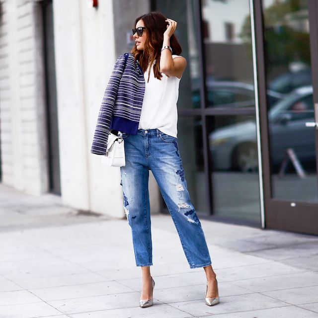 For that extra touch of interest, look for distressed details. The subtle distressing on the jeans Hoida is wearing keeps the look edgy but keeps itsophisticated for Casual Fridays.
