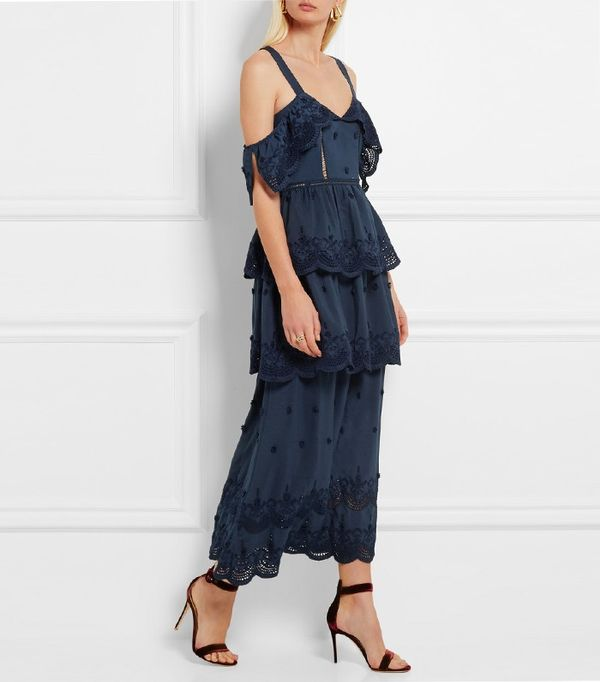 Self-Portrait Tiered Broderie Anglaise-Trimmed Crepe Maxi Dress
