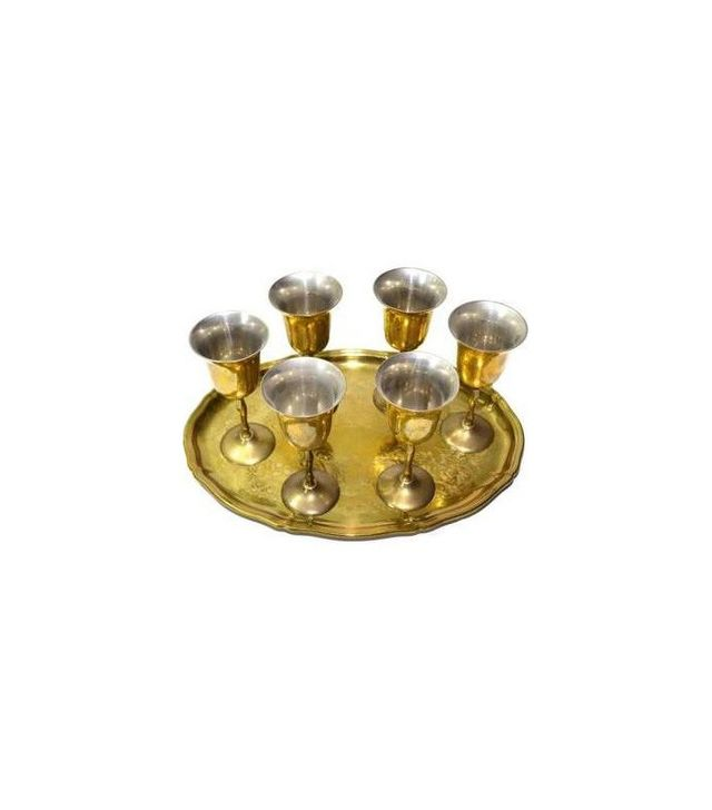 Judys Junktion Brass Wedding Goblets With Tray