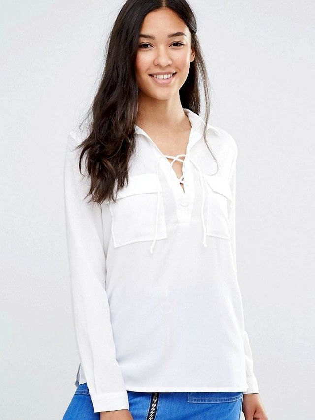Soaked in Luxury Rosy Lace Up Shirt with Pockets