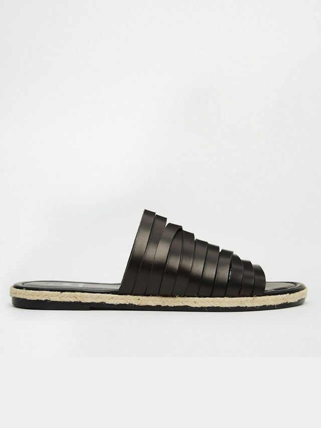 Pieces Jackie Black Leather Strappy Espadrille Flat Slider Sandals