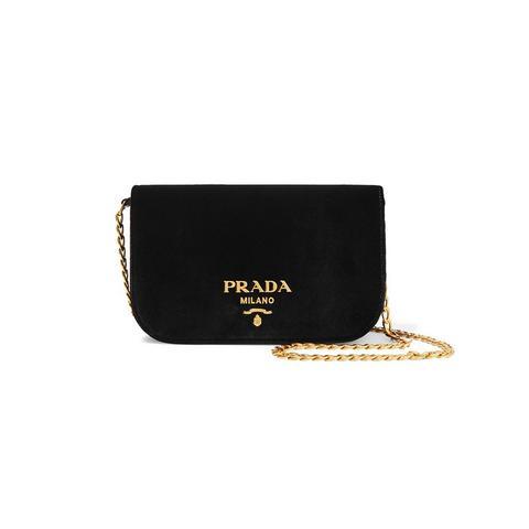 Wallet On A Chain Velvet Shoulder Bag
