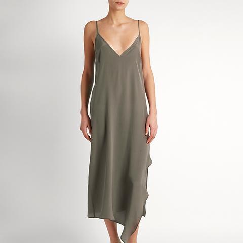 Asymmetric-Hem Silk Slip Dress