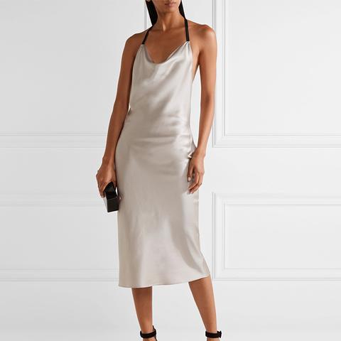 Draped Silk-Charmeuse Midi Dress