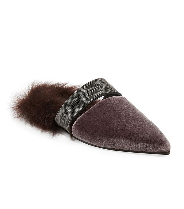 Fur-Lined Velvet Mule with Monili Strap