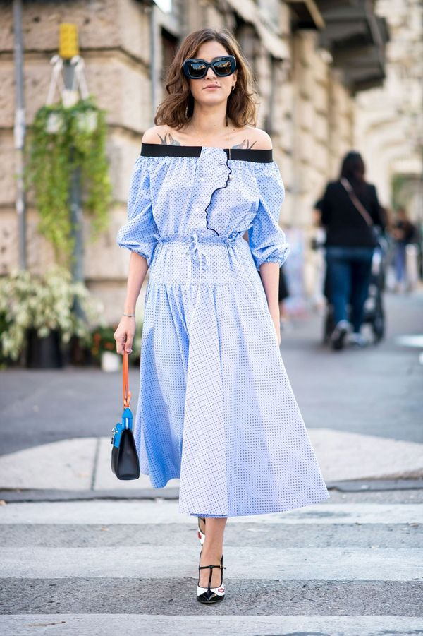 Go all ladylike in an off-the-shoulder fit-and-flare dress with a top-handle bag and T-bar heels.