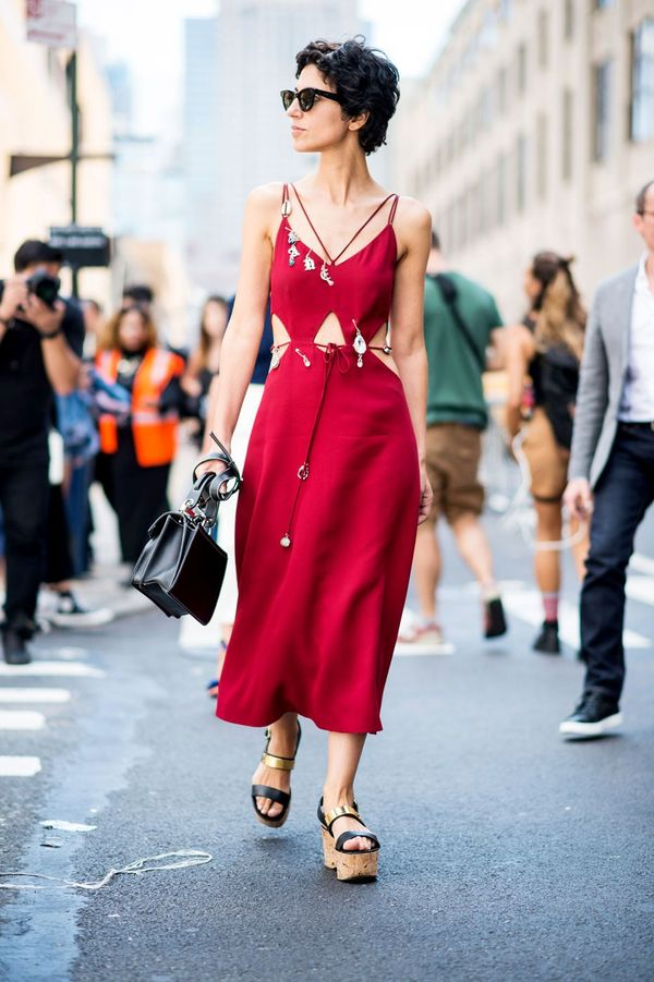 A cut-out maxi dress and platform wedges should be on high rotation for warm weekend days.