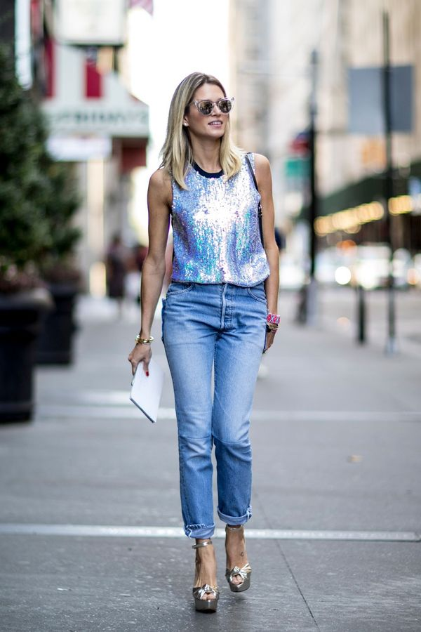 When was the last time you wore a sequin tank top? Make a note to pair one with your jeans ASAP.