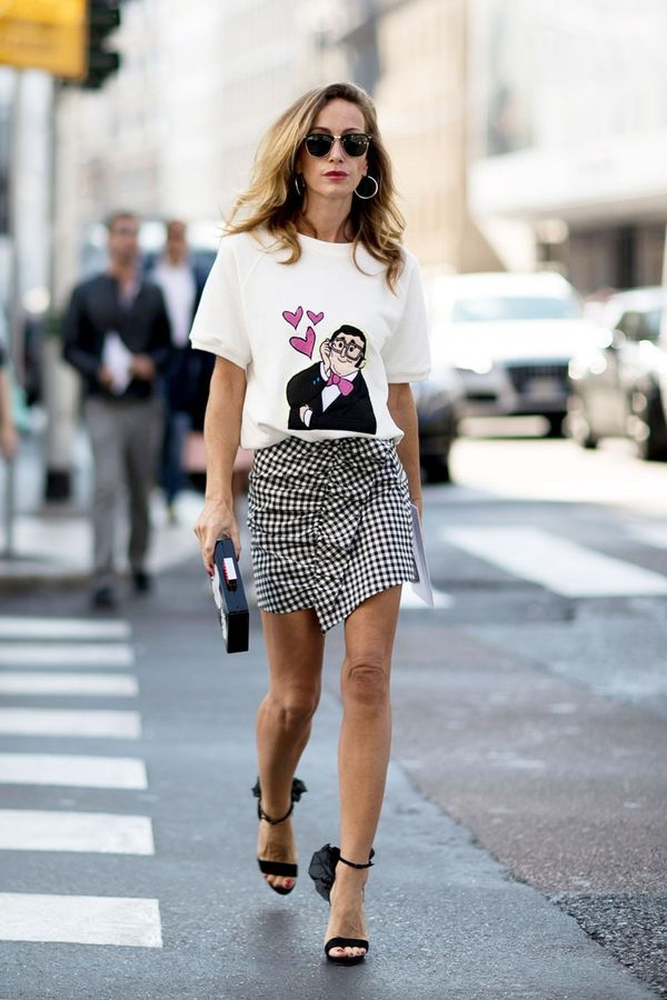 Does this signal the return of gingham? Wear yours with a printed tee and sky-high heels.