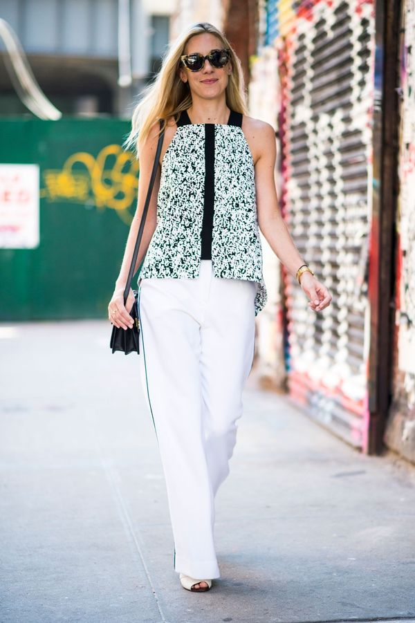 Don't be scared to try white pants, just add a loose tunic top and it will suddenly feel easy.