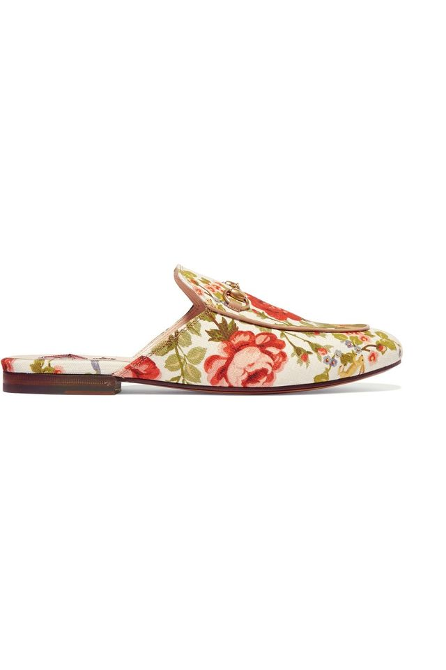 Gucci Horsebit-Detailed Floral-Print Canvas Slippers