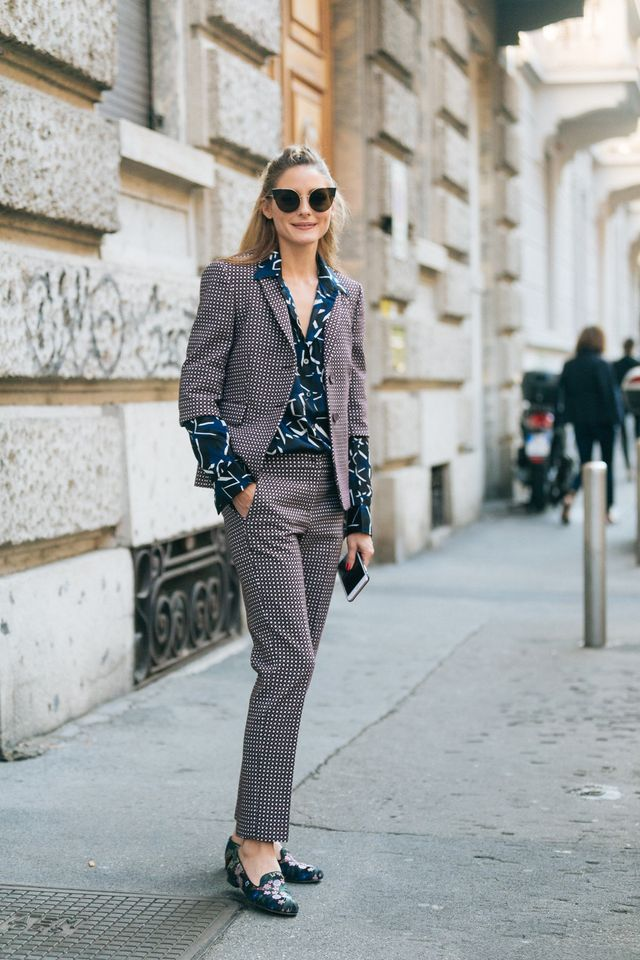 Olivia Palermo street style Milan wearing a suit