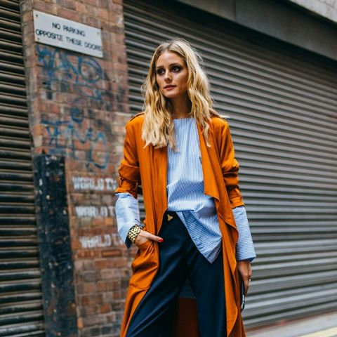 Olivia Palermo wearing the color potter's clay.