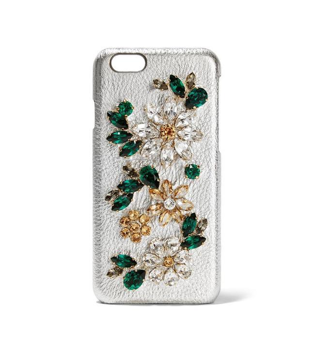 Dolce & Gabbana Crystal-Embellished Metallic Textured Leather iPhone 6 Case