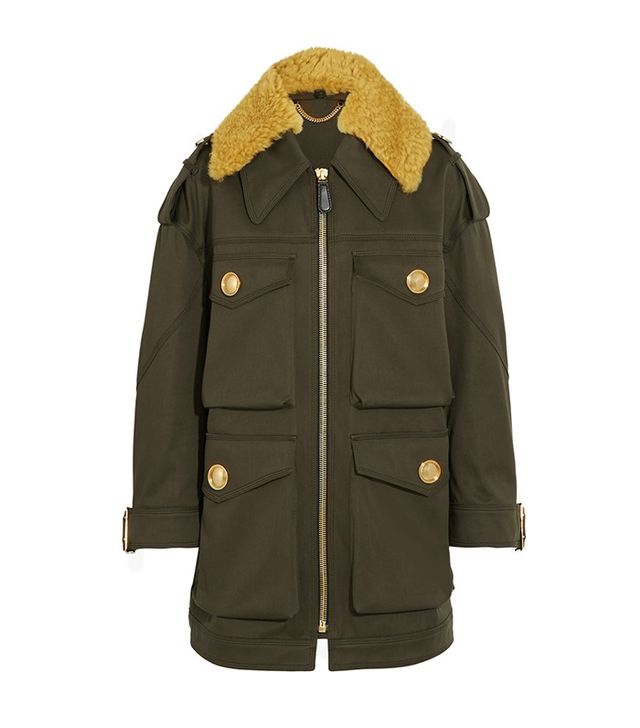 Burberry Prorsum Oversized Shearling-Trimmed Cotton Parka