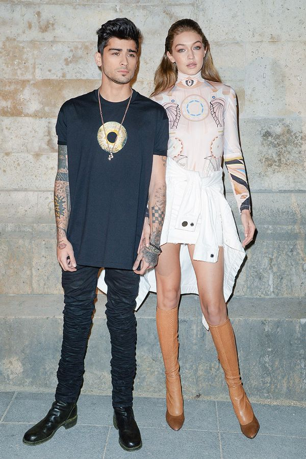WHO: Zayn Malik and Gigi Hadid WHAT: Givenchy S/S17 show  WEAR: Givenchy blouse.